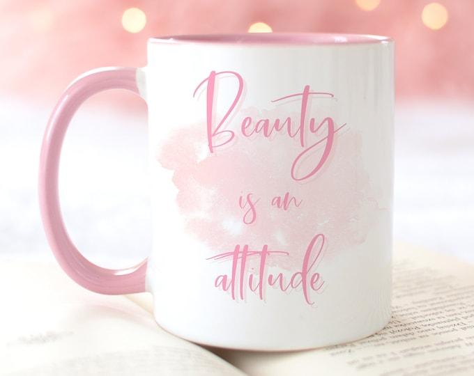 Beauty is an Attitude Girl Boss Mug, Soft Pink Aesthetic, Inspirational Coffee Mug for Women, FREE printable included!