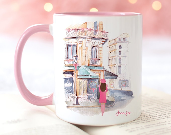Personalized and Customizable Mug, Custom Girl French Bistro, Watercolor Fashion Illustration