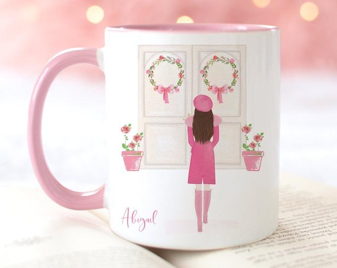 Pink Girly Custom Fashion Mug, Custom girl and personalise with a name!