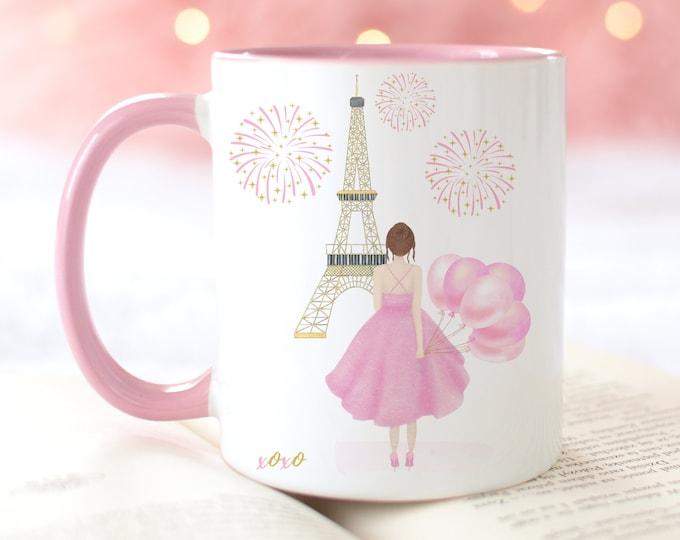 Customizable Fashion Illustration Coffee Mug, Girly Pink Watercolor Design