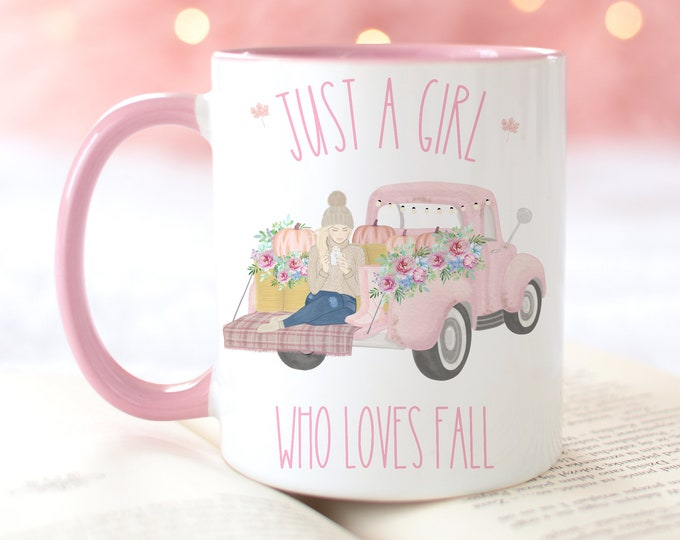 Personalized Pink Vintage Truck Fall Mug, Just a girl who loves Fall