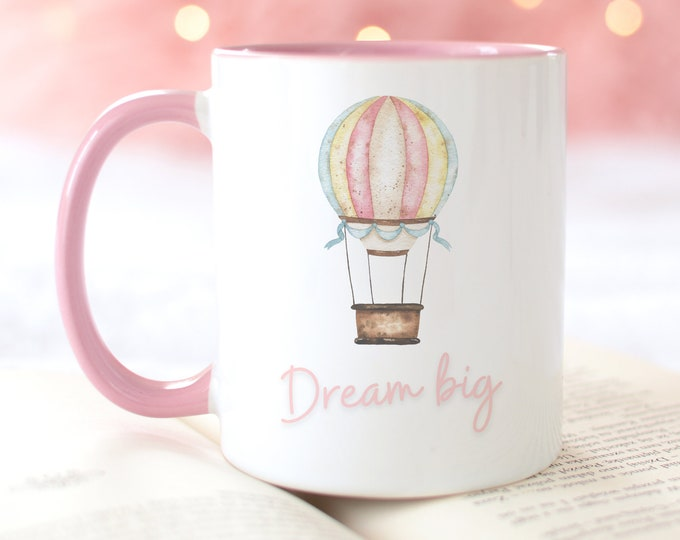 Dream Big Custom Coffee Mug, Watercolor Hot Air Balloon Illustration