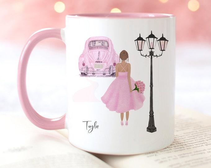 Pink Aesthetic Custom Fashion Illustration Coffee Mug