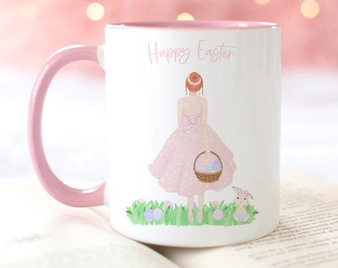 Custom Easter Coffee Mug 11 oz and 15 oz, Soft Pink Aesthetic, FREE custom Easter printable download included!