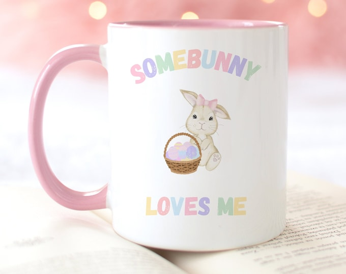 11 or 15 oz Personalized Easter Coffee Mug Gift Idea in a Soft Pastel Easter Aesthetic, FREE Easter printable download included!
