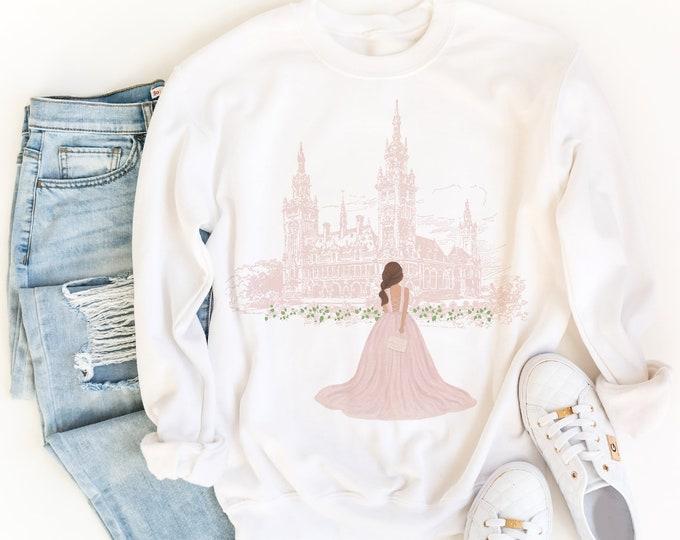 Customizable Sweatshirt for Women, Girl Fashion Illustration, Pink Aesthetic