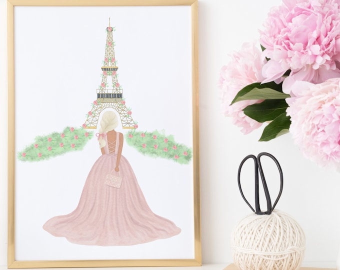 Custom Printable, Girl in Paris