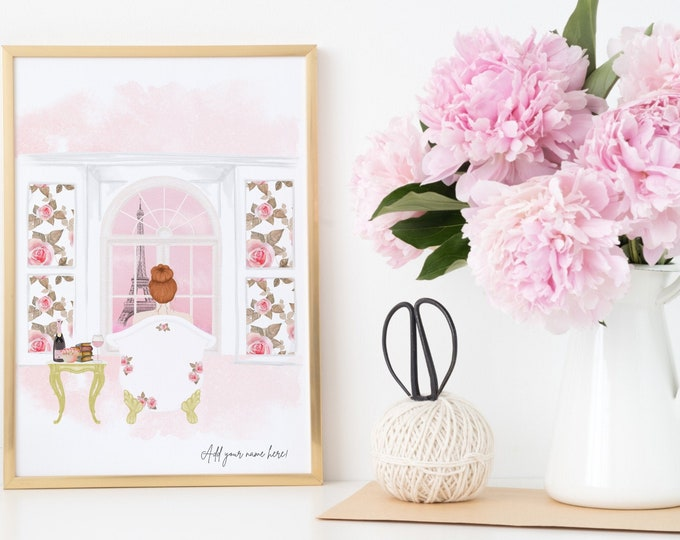 Custom Paris Printable Download, The perfect girly gift, Soft pink aesthetic, Personalize with a name and choose your girl!