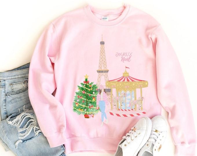 Personalised Paris Christmas sweatshirt in white red or pink, Custom holiday clothing, Christmas jumper, Custom gift