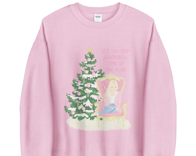 Its the most wonderful time of the year white red or pink Christmas sweatshirt for women, Customized holiday apparel, Christmas gift idea