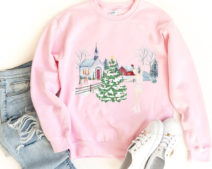A girl ice skating on a frozen lake white, red and pink Christmas womens sweatshirt, Soft & Comfy Sweatshirt, Watercolor Illustration