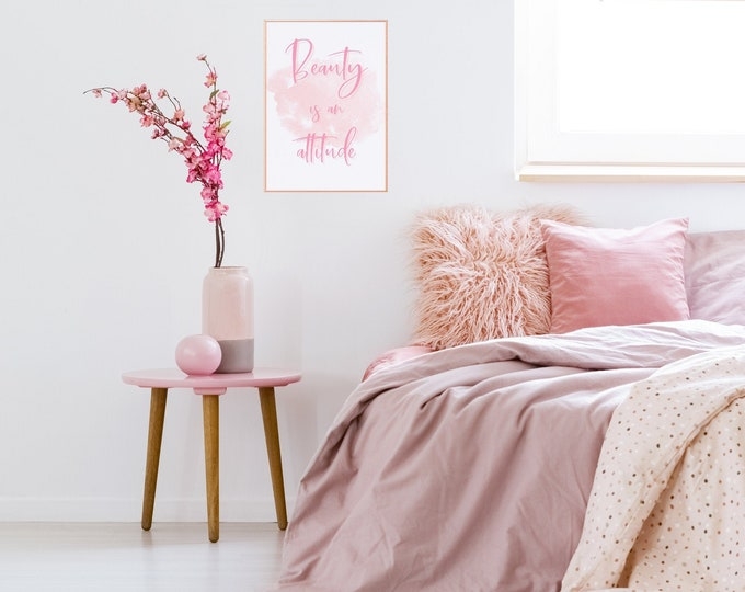 BEAUTY is an ATTITUDE, Girly Office Decor, Pink Aesthetic Room Decor, Pink and Black Text included!