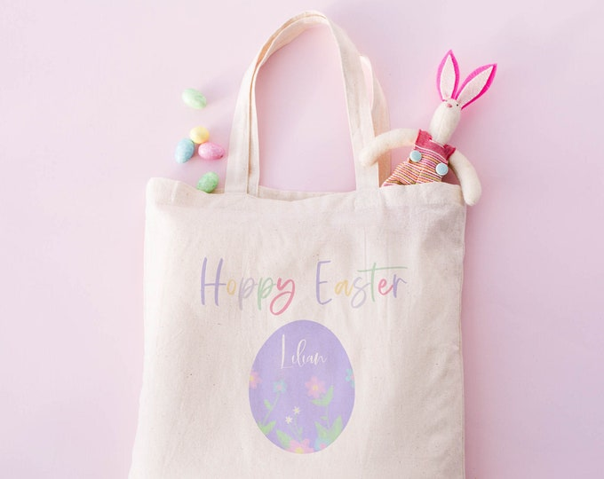 Personalized Hoppy Easter Treat Bag for Kids, Cotton canvas Easter tote bags