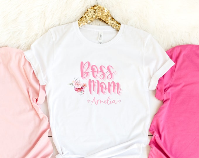 Custom BOSS MOM girly pink crewneck tshirt with a feminine watercolor floral illustration