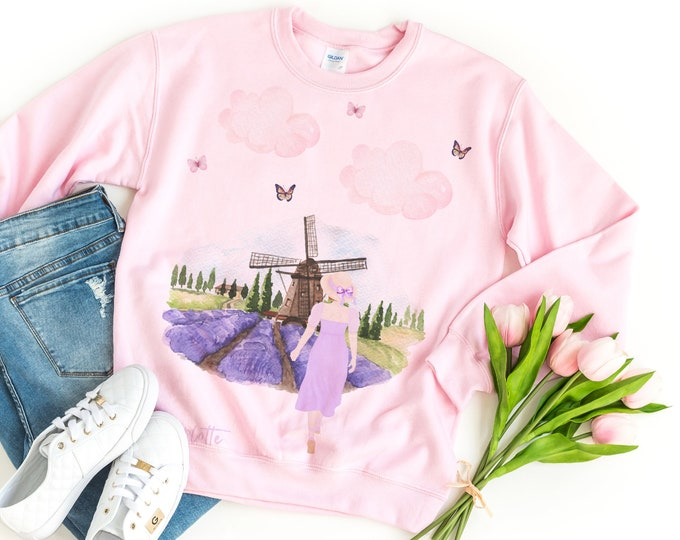 Girly white or pink sweatshirt for women with an European travel aesthetic, Best friend gift, Sister gift, Aesthetic clothing
