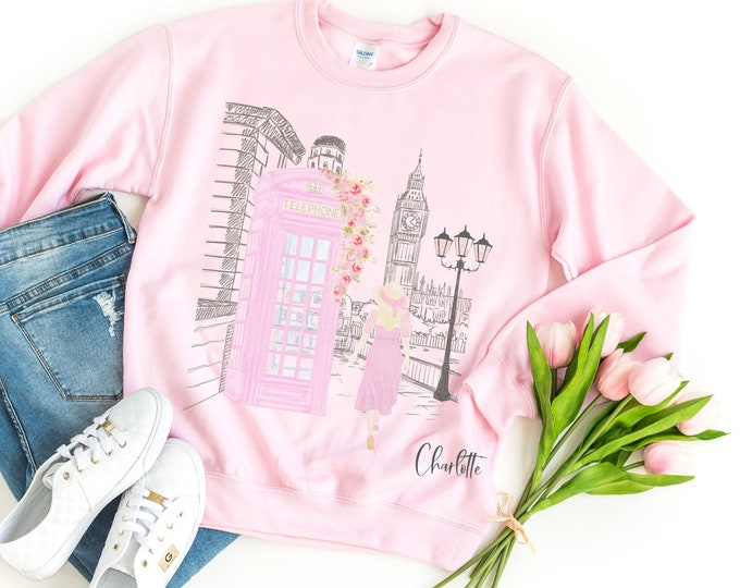 Girly London sweatshirt available in white or pink, European travel aesthetic, Sister or BFF gift idea, Watercolor Aesthetic clothing