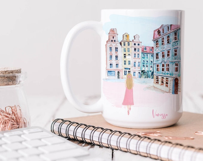 Custom soft pink aesthetic coffee mug, Fashion mug, Watercolor Illustration Design