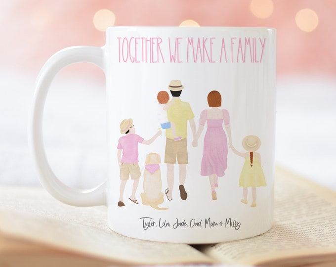 Together We Make a Family Customized Coffee Mug Family and Dog Personalized