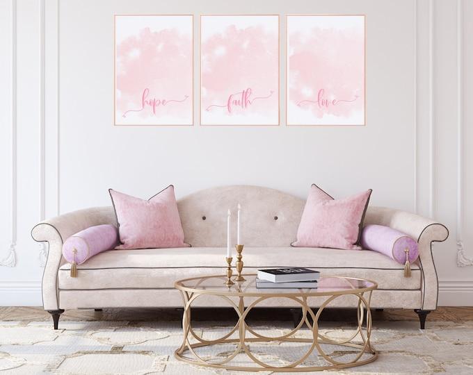 Art Print Girl Boss Set of Three Prints, Digital Download, Wall Art and Room Decor Printables, Soft Pink Aesthetic