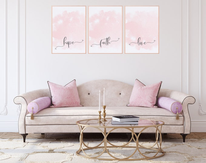 Set of three prints Girl Boss Printable Wall Art, Hope, Faith & Love, Soft Pink Aesthetic Wall Collage, Digital download