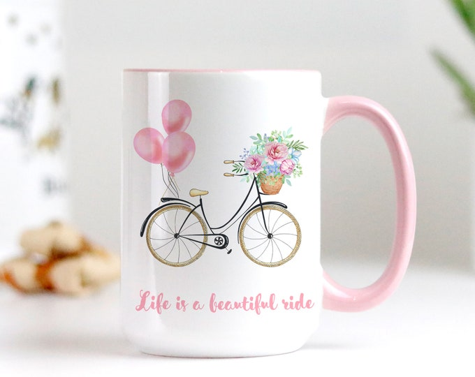 Life is a beautiful ride personalized soft pink aesthetic mug