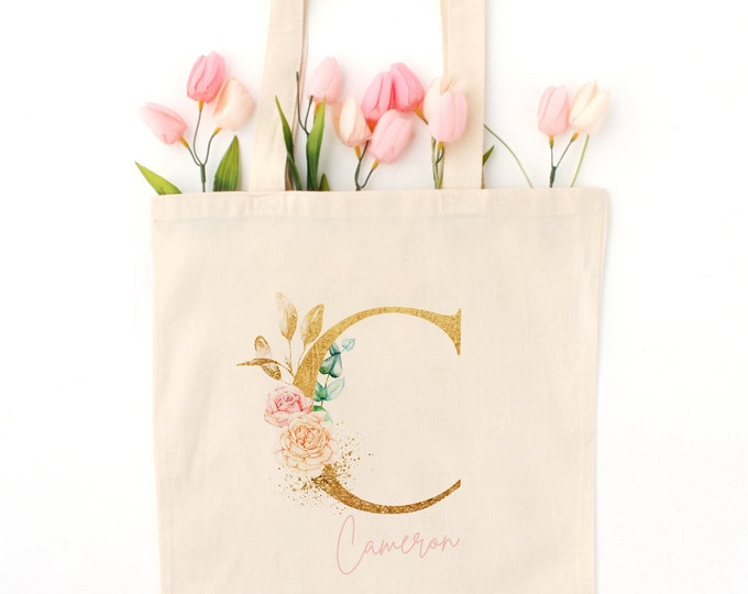 Personalized gold monogram tote bag, The perfect tote for traveling and to carry your laptop!, An unique and girly gift idea!