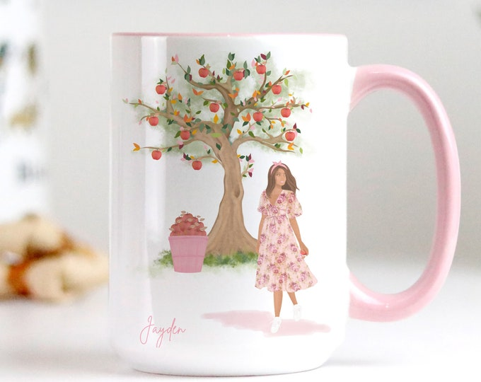Custom Fall Apple Tree Coffee Mug Design, Soft pastel watercolor illustration, Personalise yours with a name!