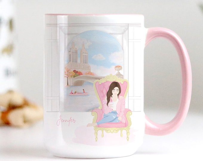 Custom New York City Fall Coffee Mug Design, Soft pink pastel watercolor aesthetic, Personalise with a name too!