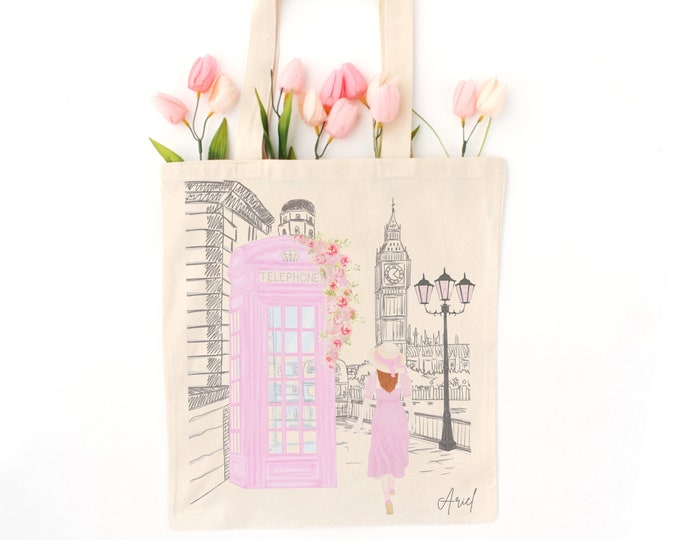 Customised girly tote bag, Personalized London aesthetic: pink phonebooth illustration, Eco friendly tote, Certified organic cotton