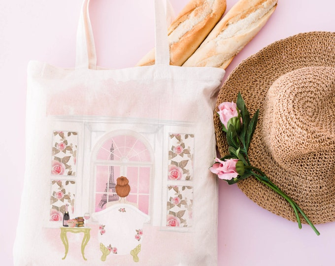 Customised soft pink aesthetic Paris illustration eco tote bag, Certified organic cotton, Personalize with a name too!