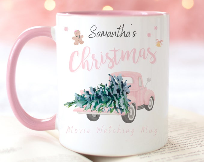 PERSONALIZE Personalised Pink Christmas Movie Watching Mug, 11oz Xmas Mug, Cosy Winter Hot Cocoa Mug, Gifts For Her, Stocking Stuffer Idea