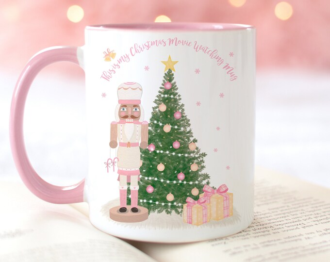 Personalized Pink Nutcracker Christmas Tree Mug