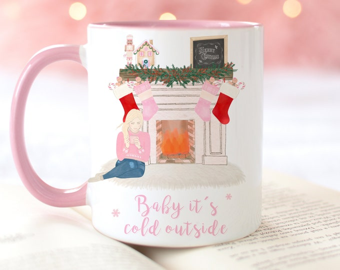 PERSONALIZE Baby it's cold outside coffee mug, Personalised Christmas Mug, Pink Mug, Stocking filler, BFF Gift