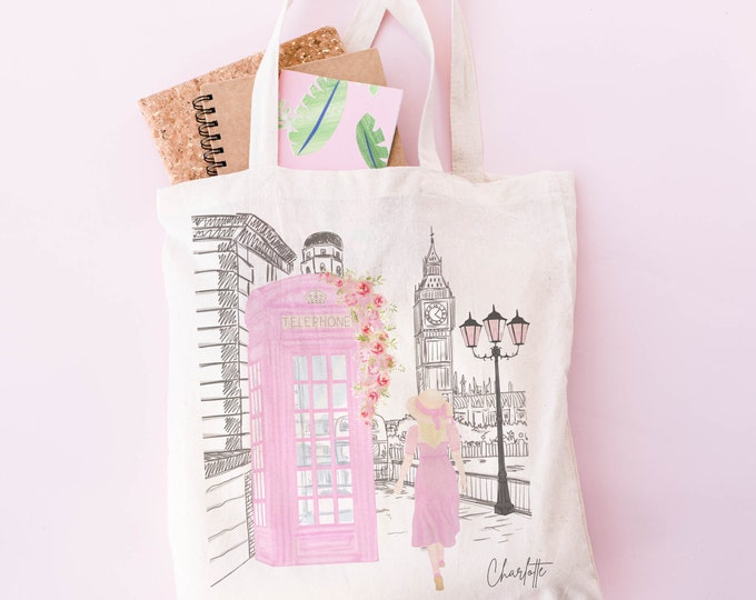 Custom girl in London pink phonebooth illustration tote bag, 100% cotton canvas, soft pink Europe aesthetic, Personalize with a name too!