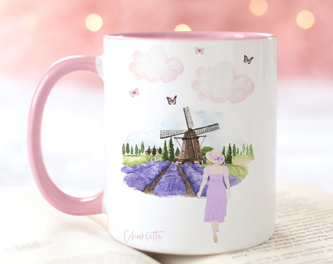 Lavender Fields Fashion Illustration Coffee Mug, Custom Girl, Personalize yours with a name!