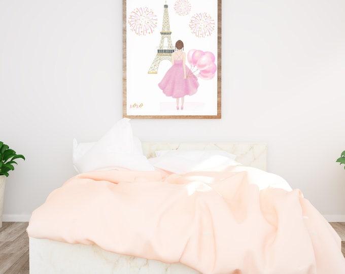 CUSTOM Girl Art Print, Girl Pink Balloons, Paris