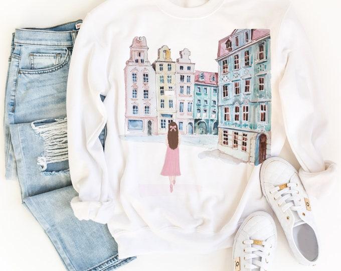 Custom Design Sweatshirt, Girl in Europe