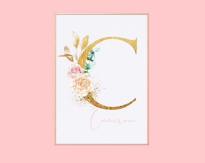 Personalized Floral Initial, Watercolor Monogram Illustration, Soft Pink Aesthetic, Girly Wall Art, Girl Boss Art Print, Nursery Decor