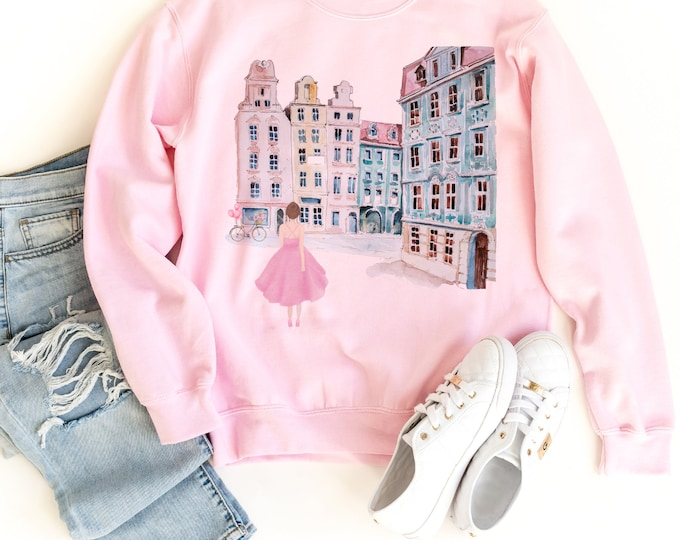 Customisable Pink Aesthetic Female Pullover with a pastel Europe watercolor print; Available in white too!