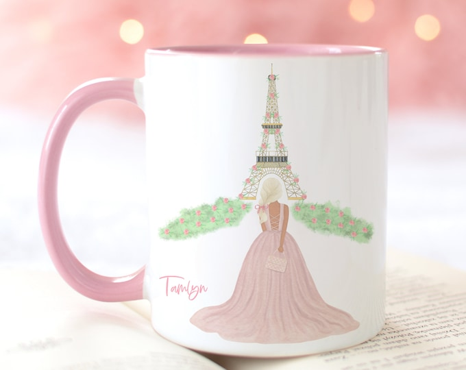 Custom Girly Paris Ceramic Mug, Eiffel Tower Watercolor Illustration
