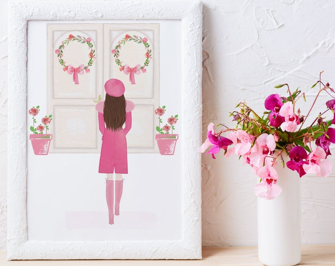 Custom Girl Art Illustration, French Chic Prints