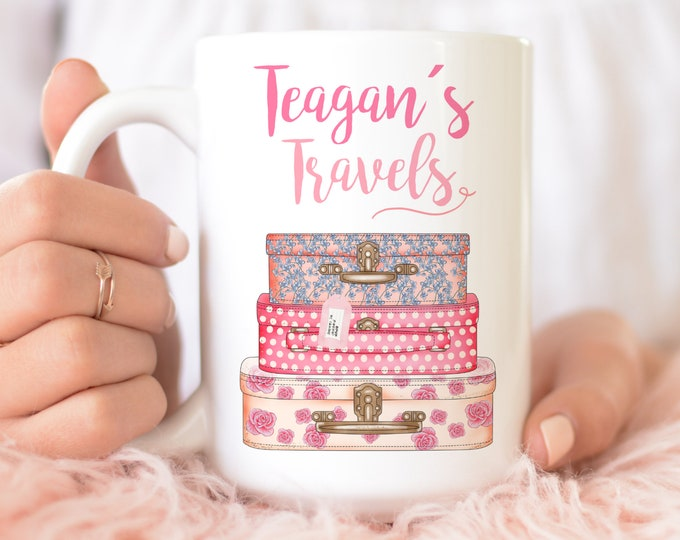 Personalized name and custom name tag soft pink aesthetic coffee mug - Watercolour vintage suitcase illustration,  Girly Travellers gift