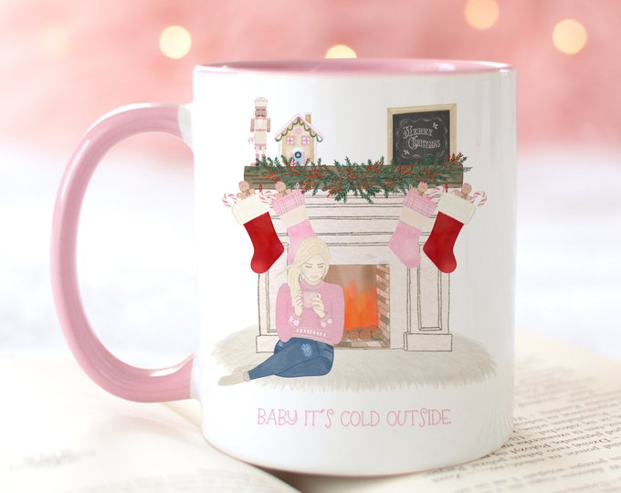 Baby its cold outside pink Christmas mug, Hot cocoa mug, Pink Christmas mug, Xmas mugs, Christmas stocking stuffers for women