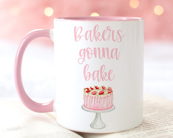 Bakers Gonna Bake Soft Pink Aesthetic Coffee Mug Designs, Gift idea for the Baker in your life!