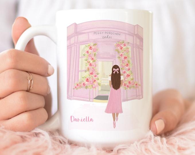 Custom & personalized London illustration pink aesthetic coffee mug