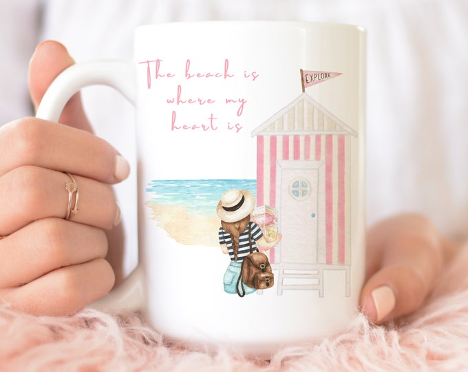 The beach is where my heart is 11 or 15 oz custom ceramic coffee mug