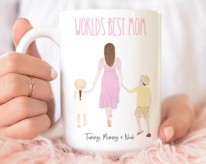 Worlds Best Mom | Personalized Mothers day Gift | Mom Birthday Gift from Kids | Custom Mama Coffee Mug |  Watercolor Pastel Aesthetic
