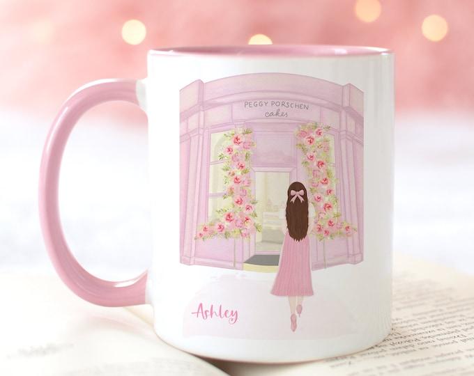 Personalized Name Mug, Customizable Girly Mug, London Coffee Mug, Fashion Illustration Coffee Mug