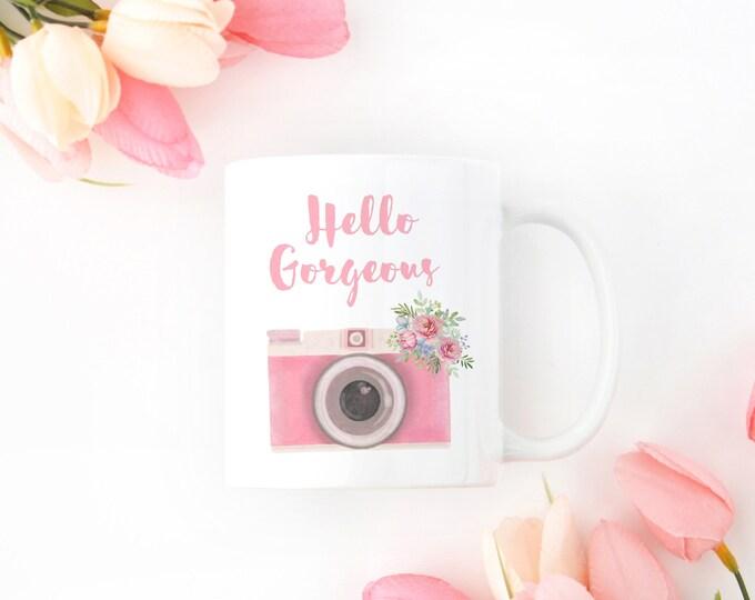 Hello Gorgeous Coffee Mug, Vintage Watercolor Camera