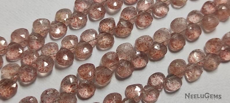5-5.5MM Quartz Beads Strand Strawberry Quartz Beads Strand Beautiful Natural Strawberry Quartz Faceted Heart Shape Gemstone Beads Strand